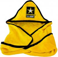 US Army Baby Soft Fleece Blanket with Embroidered Logo - Yellow