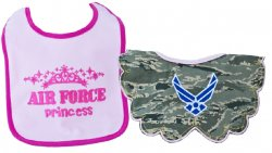 United States Air Force ABU Camo Princess Baby Bib Set 2pk Pink