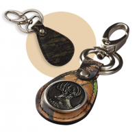 Weber's Camo Leather Wildlife Concho Key Ring with Swivel Clip