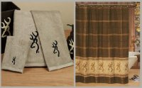Browning Buckmark Logo Shower Curtain & Towel Set Tan