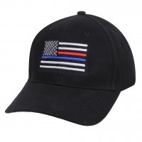 Adult Thin Blue Line and Red Line Embroidered U.S. Flag Ball Cap