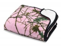 60'' x 80'' Pink Forest Camo Reversible Plush Throw Blanket