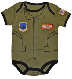 """Future Pilot"" Baby Bodysuit Airman Flight Suit 0-12 Mo"