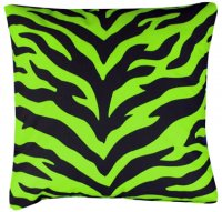 Black and Lime Green Zebra Stripe Square Accent Pillow