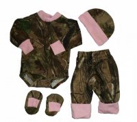 Realtree AP Camo with Pink Accents 4pc Baby Bodysuit Set